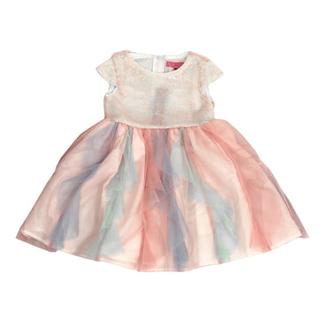 Girl Story - Rainbow Short Sleeve Shiny Sequin Girls Toddler Dress - W.A.Y