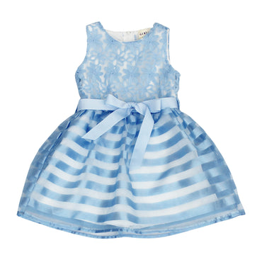Girl Story - Blue Floral Top W/ Striped Bottom and Back Bow-tie Girls Dress - W.A.Y