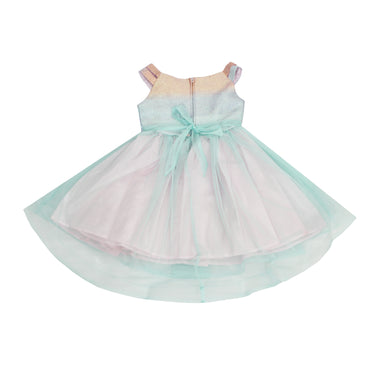 Girl Story - Watercolor Rainbow Double Strap Sparkle Beaded Rhinestone Kids Dress - W.A.Y
