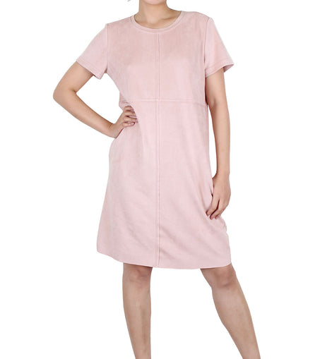 Way Beyoung Women's Beige Rose Short Sleeve Knee High Dress - W.A.Y