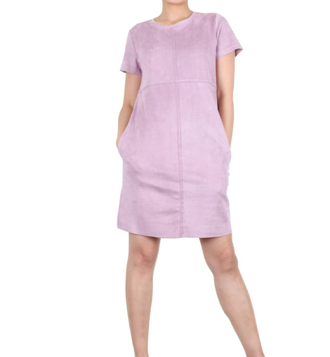 Way Beyoung Women's Lavender Stretch Short Sleeve Knee High Dress - W.A.Y