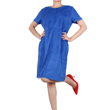 Way Beyoung Women's Cobalt Stretch Short Sleeve Knee High Dress - W.A.Y