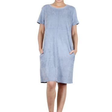 Way Beyoung Women's Pebble Stretch Short Sleeve Knee High Dress - W.A.Y
