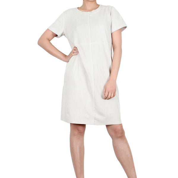 Way Beyoung Women's Cream Stretch Short Sleeve Knee High Dress | Way Beyoung | Dresses
