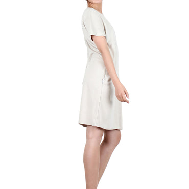 Way Beyoung Women's Cream Stretch Short Sleeve Knee High Dress - W.A.Y