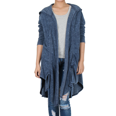 Way Beyoung Womens Navy Long Sleeve Open Front Cardigan - W.A.Y