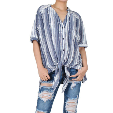 Way Beyoung Women's Blue & White Button Down Stripe Shirt w/ Front Tie | Way Beyoung | Blouses & Button-Downs