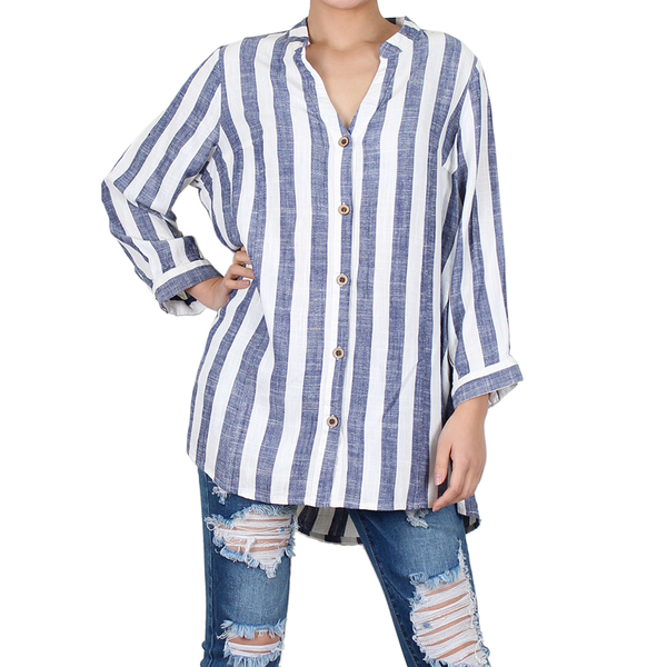 Way Beyoung Women's V-Neck Button Down Long Sleeve Stripe Shirt - W.A.Y