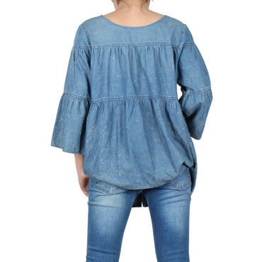 Way Beyoung Women's Tencel Button Down Denim Shirt W/Flare Sleeves | Way Beyoung | Blouses & Button-Downs