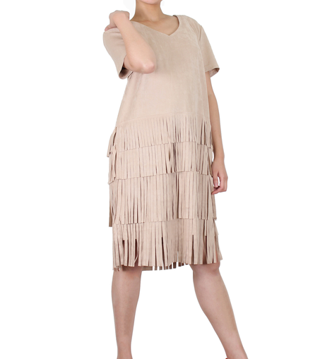 Way Beyoung Brown Stretch V-Neck Short Sleeve Ruffle Tassels Front Dress - W.A.Y