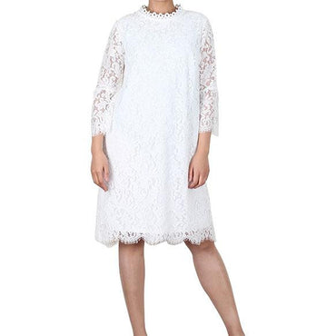 Way Beyoung White Long Sleeve Lace Knee-High Dress - W.A.Y