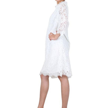 Way Beyoung White Long Sleeve Lace Knee-High Dress | Way Beyoung | Dresses