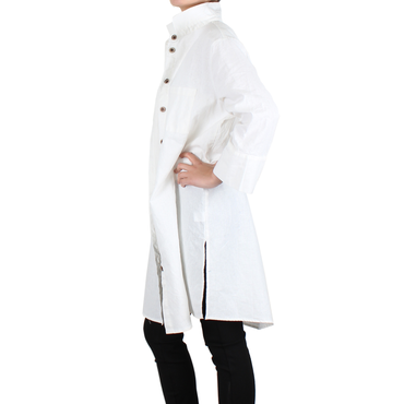 Way Beyoung Women's White Long Sleeve Button-Down Long Jacket | Way Beyoung | Jackets
