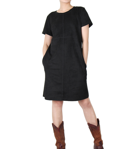 Way Beyoung Women's Black Stretch Short Sleeve Knee High Dress - W.A.Y