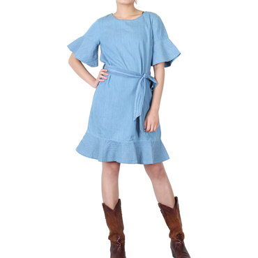 Way Beyoung Women's Cotton Blue Wide Short Sleeve Front Tie Dress - W.A.Y
