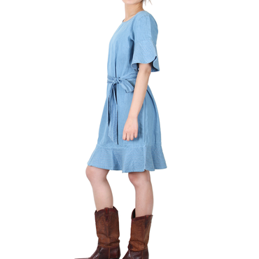 Way Beyoung Women's Cotton Blue Wide Short Sleeve Front Tie Dress | Way Beyoung | Dresses
