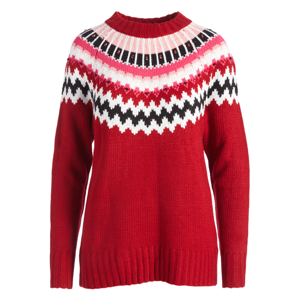 Urban Diction Red & White Geometric Embellished Sweater | Urban Diction | Pullovers