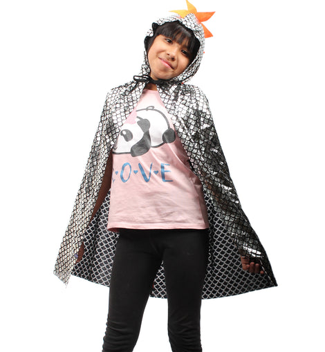 Kids Size Grey Metallic Dinosaur/Dragon Scales Hooded Cape | Girl Story | Kids Costumes