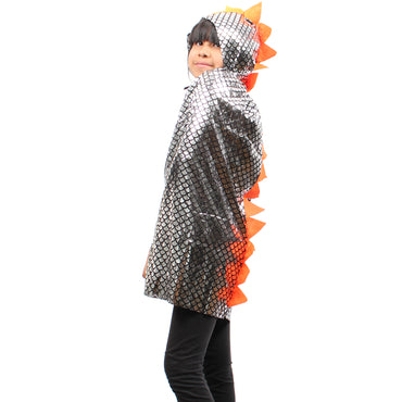 Kids Size Grey Metallic Dinosaur/Dragon Scales Hooded Cape - W.A.Y