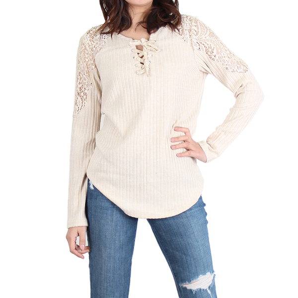 Urban Diction Cream Lace-Accent Lace-Up Front Sweater | Urban Diction | Pullovers