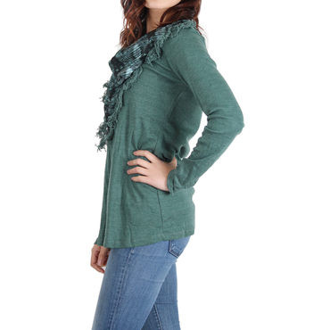 Urban Diction Hunter Green Scarf-Front Sweater | Urban Diction | Pullovers