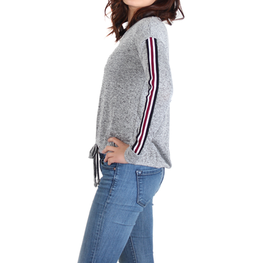 Urban Diction Heather Gray Arm-Stripe Sweatshirt | Urban Diction | Pullovers