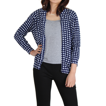 Urban Diction Navy & White Gingham Cardigan | Urban Diction | Cardigans