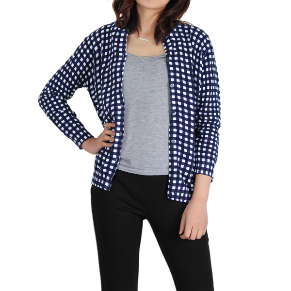 Urban Diction Navy & White Gingham Cardigan - W.A.Y