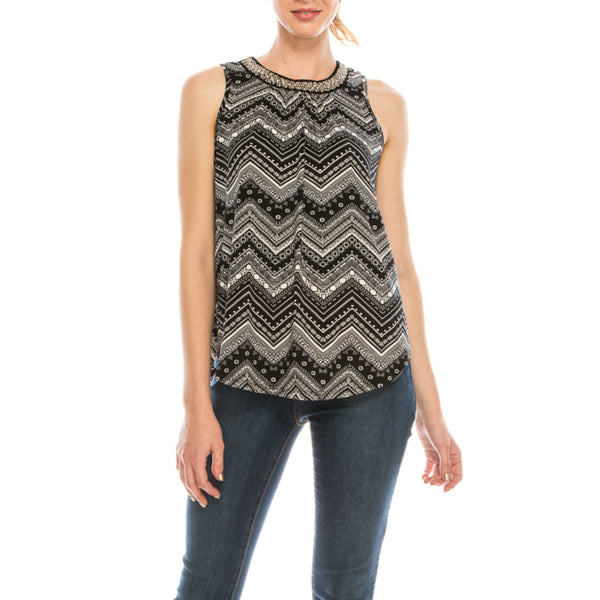 Urban Diction Black & White Zigzag Geometric Beaded-Neck Sleeveless Top - W.A.Y