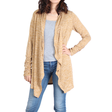 Urban Diction Mustard Yellow Drape-Front Open Cardigan - Women | Urban Diction | Cardigans