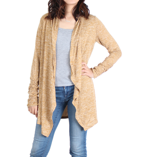 Urban Diction Mustard Yellow Drape-Front Open Cardigan - Women - W.A.Y