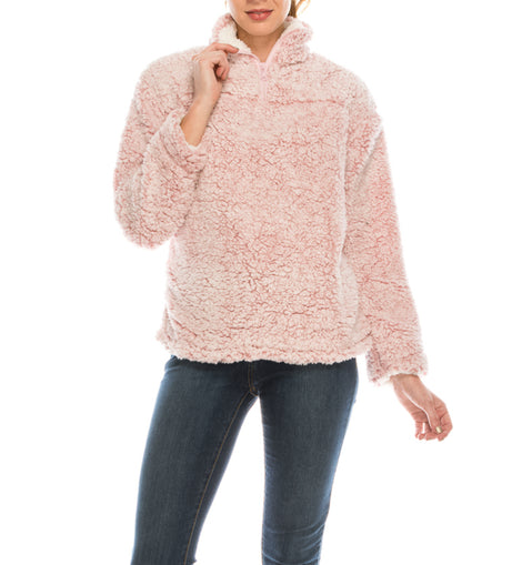 Urban Diction Pink Pull Over Sherpa Long Sleeve Winter Cozy Sweater | Urban Diction | Sweater