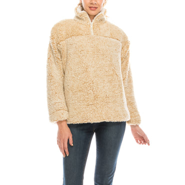 Urban Diction Beige Sherpa Quarter-Zip Pullover | Urban Diction | Pullovers