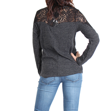 Urban Diction Charcoal Lace-Accent Lace-Up Front Sweater | Urban Diction | Pullovers