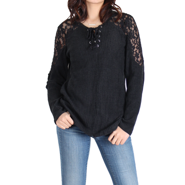 Urban Diction Black Lace-Panel Lace-Up Front Sweater | Urban Diction | Pullovers
