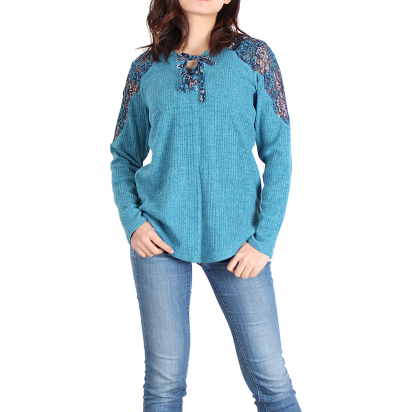 Urban Diction Lake Blue Lace-Panel Lace-Up Front Sweater - Women | Urban Diction | Pullovers