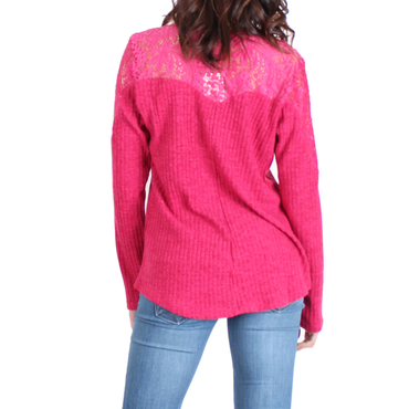 Urban Diction Rosy Pink Lace-Panel Lace-Up Front Sweater - Women | Urban Diction | Pullovers