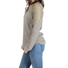 Urban Diction Dusty Olive Lace-Panel Lace-Up Front Sweater - W.A.Y