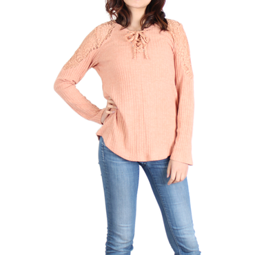 Urban Diction Peach Lace-Panel Lace-Up Front Sweater | Urban Diction | Pullovers