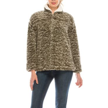Urban Diction Olive Sherpa Quarter-Zip Pullover | Urban Diction | Pullovers
