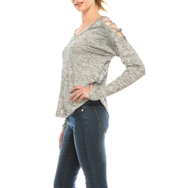 Urban Diction Light Grey Crisscross Open Shoulder Cutout Long Sleeve Sweater | Urban Diction | Sweater