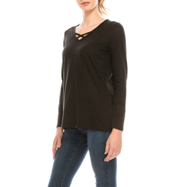 Urban Diction Front Crisscross Long Sleeve Soft Top | Urban Diction | Knits & Tees