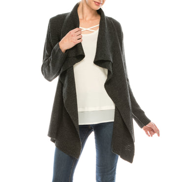 Urban Diction Gray Cascade-Front Open Cardigan | Urban Diction | Cardigans