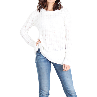 Urban Diction White & Yellow Openwork Wrap-Hem Sweater | Urban Diction | Pullovers