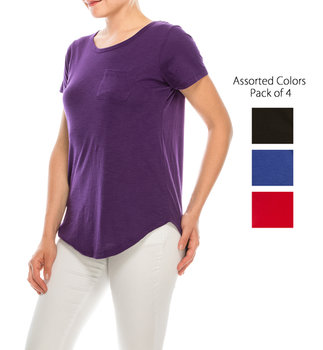 Urban Diction 4 Pack Women's Essential Solid Colors Basic Scoop Neck Tees | Urban Diction | Knits & Tees