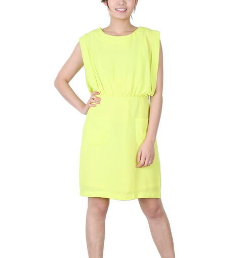 Urban Diction Yellow Sleeveless Fluorescent Summer Dress | Urban Diction | Dresses