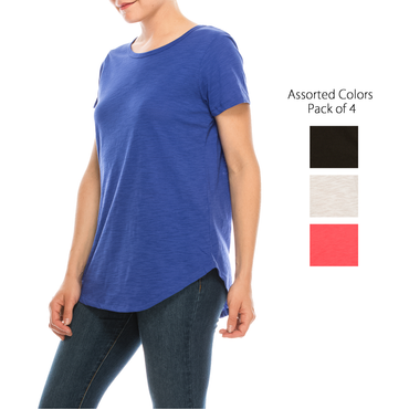 Urban Diction 4 Pack Women's Basic Scoop Neck Tee | Urban Diction | Knits & Tees