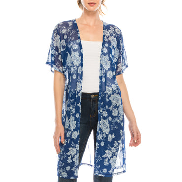 Urban Diction Blue & White Long Floral Kimono Wide Sleeves Cover Up | Urban Diction | Jackets