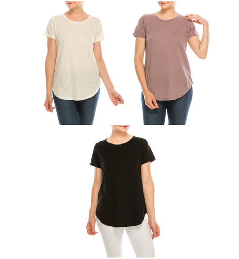 Urban Diction 3 Pack Women's Comfort Stretch Solid Scoop Neck Short Sleeve T Shirts - W.A.Y