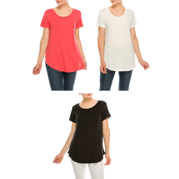 Urban Diction 3 Pack Women's Comfort Stretch Solid Color Scoop Neck  Short Sleeve T Shirts Regular and Plus Size | Urban Diction | Knits & Tees